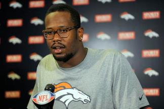 Denver Broncos Von Miller addresses the media after his workout at Dove Valley. The Broncos started conditioning workouts and meetings Monday, April 16, 2012 at Dove Valley. John Leyba, The Denver Post